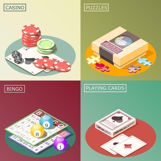 Concetto di progetto isometrico dei giochi da tavolo Vettore gratuito