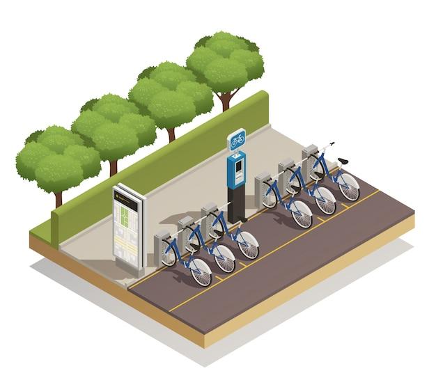 Concetto di progetto isometrico di affitto della bicicletta Vettore gratuito