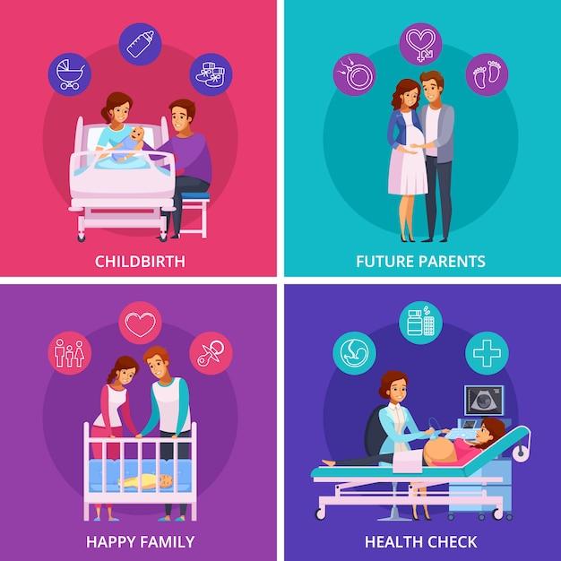 Concetto di progetto neonato del fumetto di gravidanza Vettore gratuito