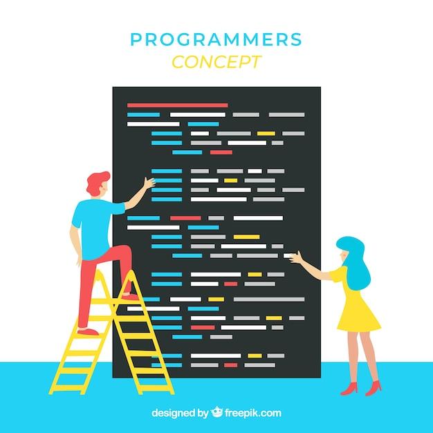 Concetto di programmatori con design piatto Vettore gratuito