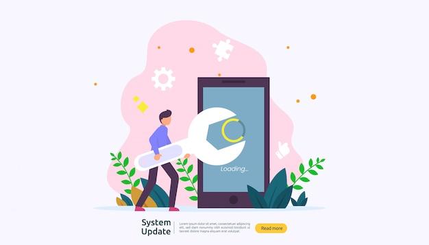 Concetto di progresso dell'aggiornamento del sistema operativo. Vettore Premium