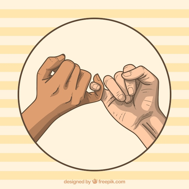 Concetto di promessa del mignolo disegnato a mano Vettore gratuito
