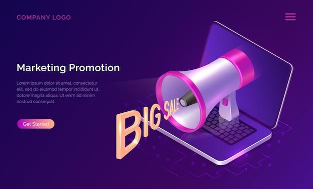 Concetto di promozione del marketing, megafono isometrico Vettore gratuito