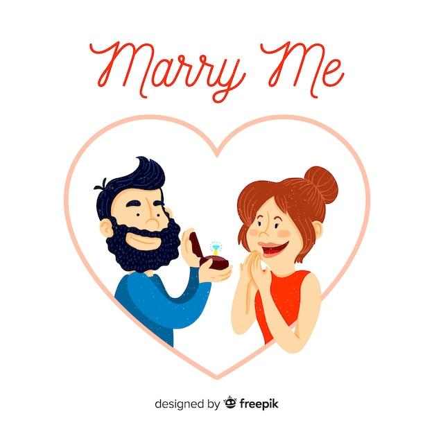 Concetto di proposta di matrimonio disegnato a mano incantevole Vettore gratuito