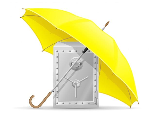 Concetto di protetto e assicurato sicuro con denaro ombrello illustrazione vettoriale Vettore Premium