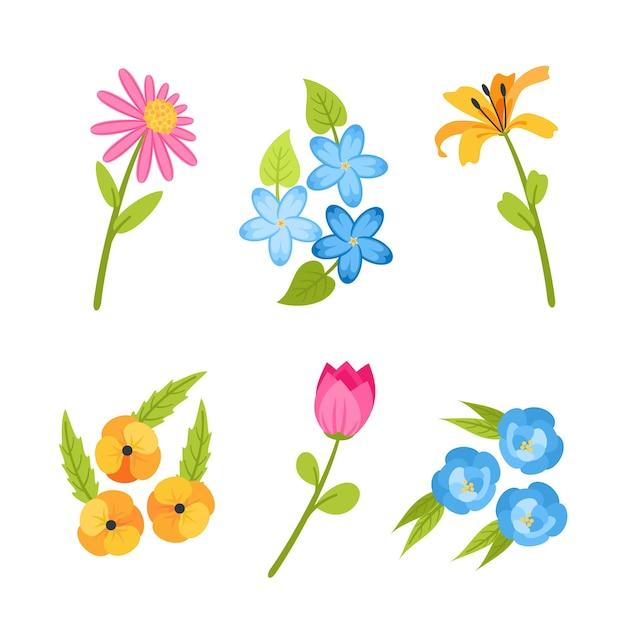 Concetto di raccolta di fiori design piatto primavera Vettore gratuito