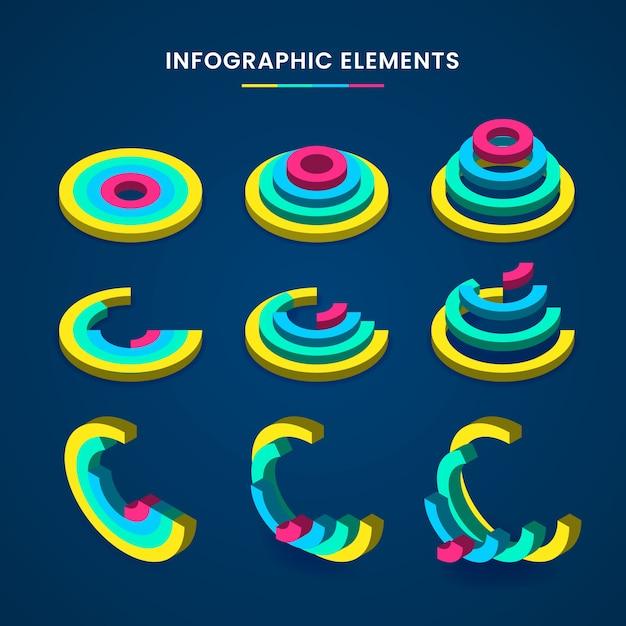 Concetto di raccolta infografica isometrica Vettore gratuito