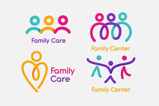 Concetto di raccolta logo famiglia Vettore gratuito