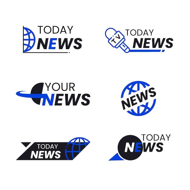 Concetto di raccolta logo notizie Vettore gratuito