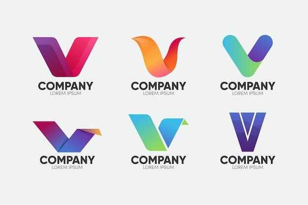 Concetto di raccolta logo v Vettore gratuito