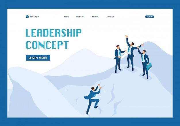 Concetto di raggiungimento obiettivo isometrico con la tua squadra, leadership pagina di destinazione Vettore Premium