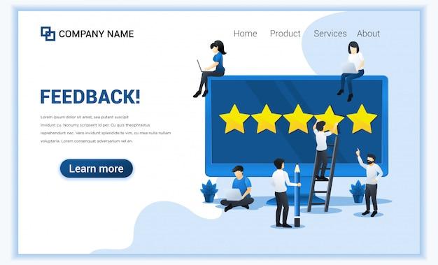 Concetto di recensioni dei clienti. persone che danno cinque stelle, feedback positivi, soddisfazione e valutazione Vettore Premium