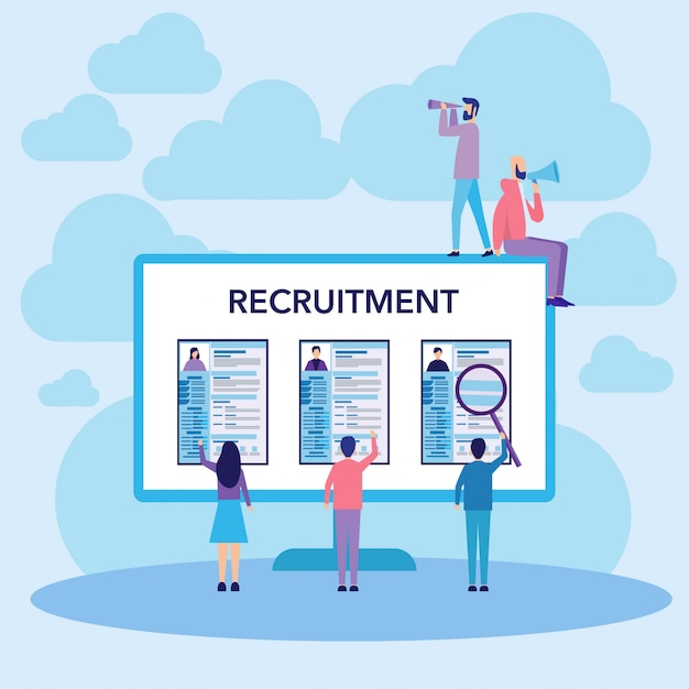 Concetto di reclutamento del lavoro Vettore Premium