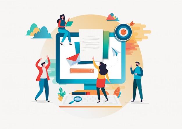 Concetto di reclutamento. risorse umane Vettore Premium