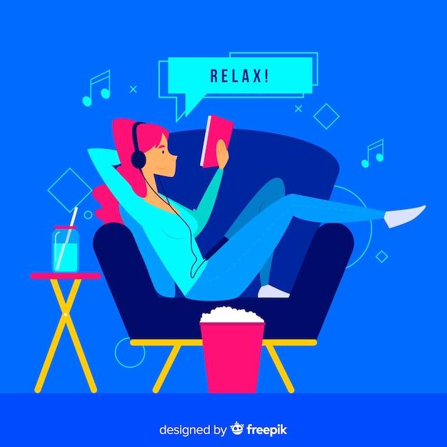 Concetto di relax a casa per landing page Vettore gratuito