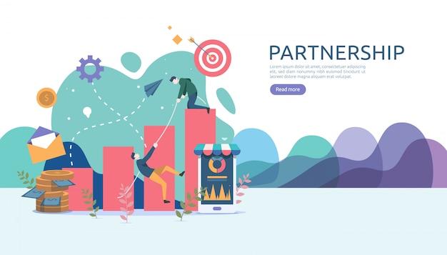 Concetto di relazione di partnership commerciale Vettore Premium