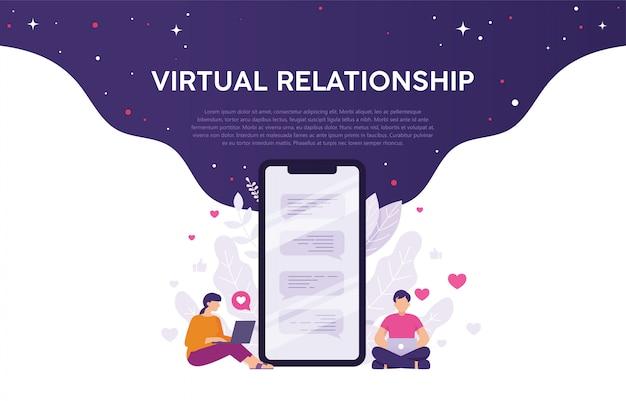 Concetto di relazione virtuale o app di incontri Vettore Premium