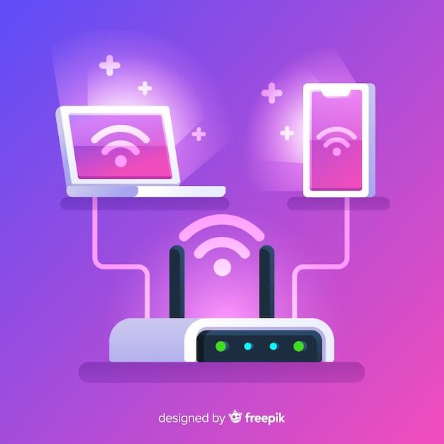 Concetto di rete wifi design piatto Vettore gratuito