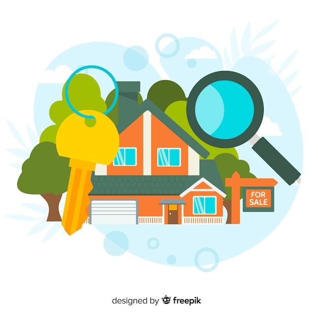 Concetto di ricerca casa per landing page Vettore gratuito