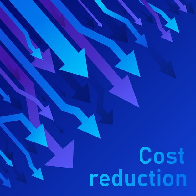 Concetto di riduzione dei costi. il business ha perso il calo delle crisi diagramma del mercato finanziario azionario. illustrazione al tratto sottile di idea di conversione di vendite. sfondo blu (viola) Vettore Premium