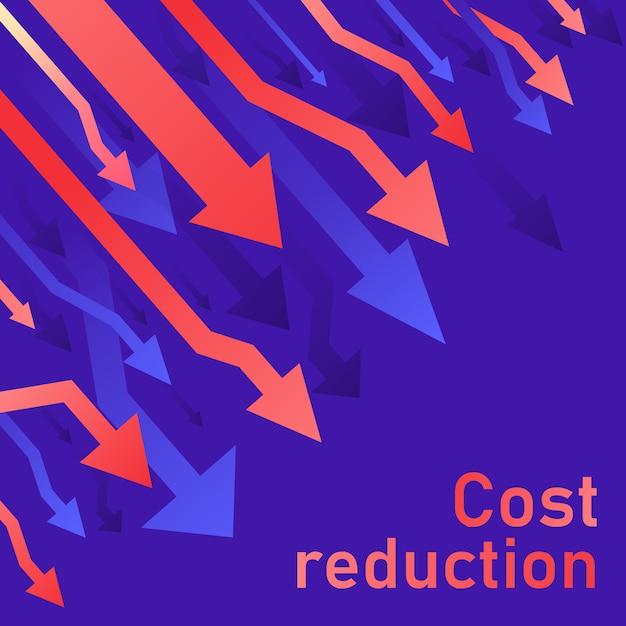 Concetto di riduzione dei costi. il business ha perso la diminuzione della crisi. diagramma del mercato finanziario azionario. illustrazione al tratto sottile idea di conversione delle vendite. sfondo blu (viola) Vettore Premium
