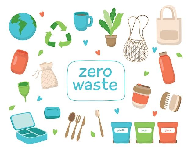 Concetto di rifiuti zero Vettore Premium