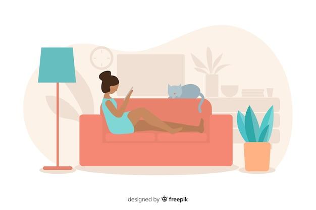 Concetto di rilassamento a casa con la donna sul sofà Vettore gratuito