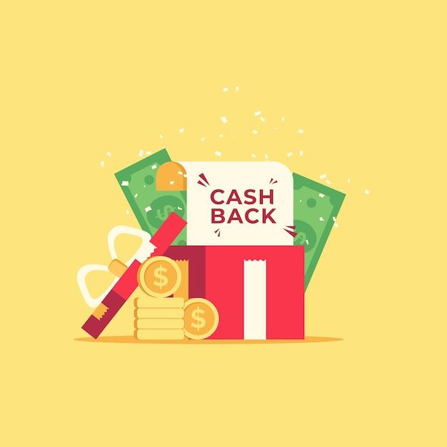Concetto di rimborso con monete e banconote Vettore gratuito