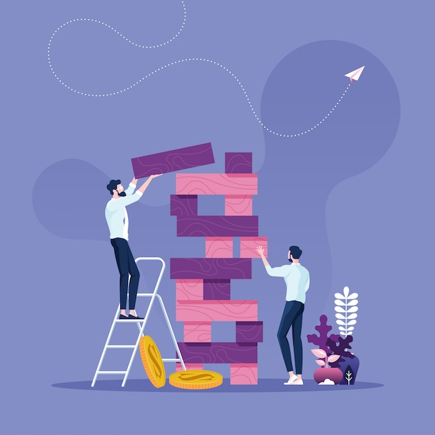 Concetto di rischio d'impresa due uomini d'affari che giocano il gioco della torre Vettore Premium
