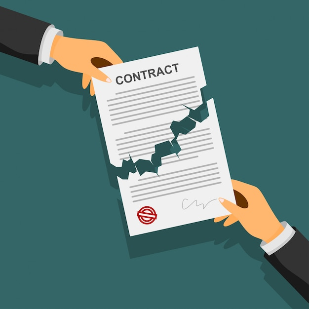 Concetto di risoluzione del contratto. mani dell'uomo d'affari che strappano un contratto. Vettore Premium