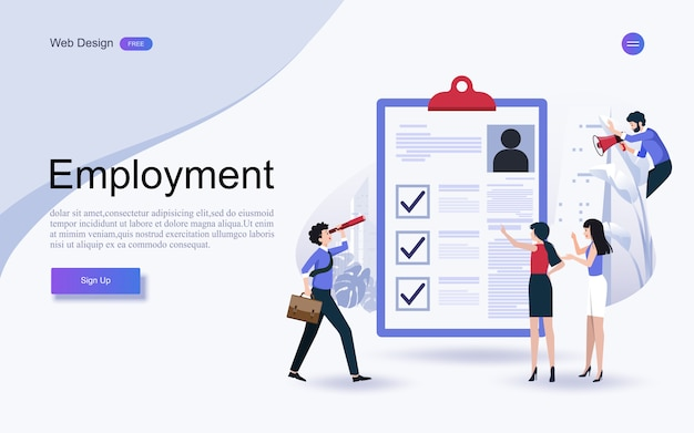 Concetto di risorse umane, occupazione alla lista di controllo completata negli appunti. Vettore Premium