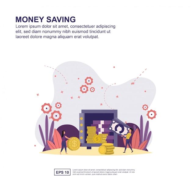 Concetto di risparmio di denaro Vettore Premium