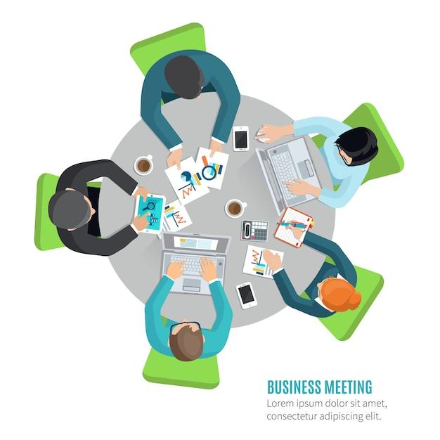 Concetto di riunione d'affari con la gente di vista superiore che si siede al tavolo dell'ufficio Vettore gratuito