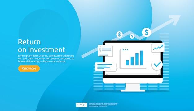 Concetto di roi di ritorno sull'investimento. successo delle frecce di crescita di affari. aumento del grafico dei profitti. finanza che si allunga. Vettore Premium