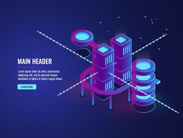 Concetto di sala server, banner smart city, elaborazione dati sul traffico e archiviazione cloud Vettore gratuito