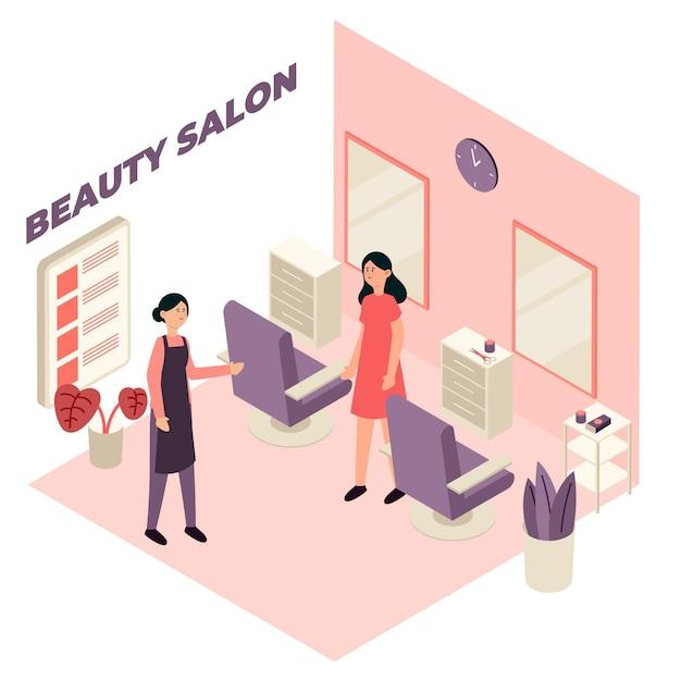 Concetto di salone di bellezza isometrica Vettore gratuito