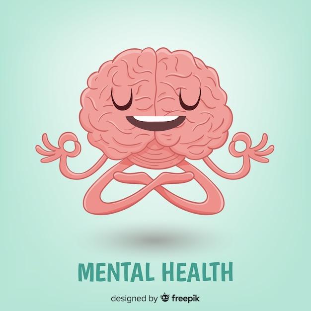 Concetto di salute mentale disegnato a mano di divertimento Vettore gratuito
