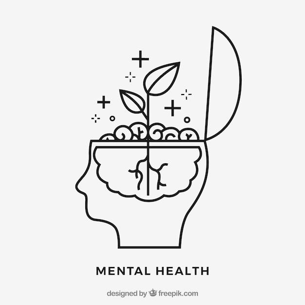 Concetto di salute mentale disegnato a mano Vettore gratuito