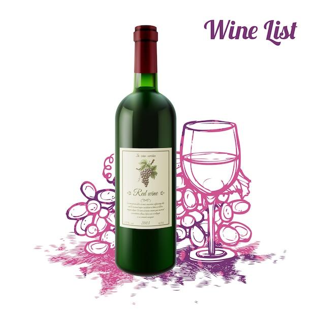 Concetto di schizzo del vino Vettore gratuito