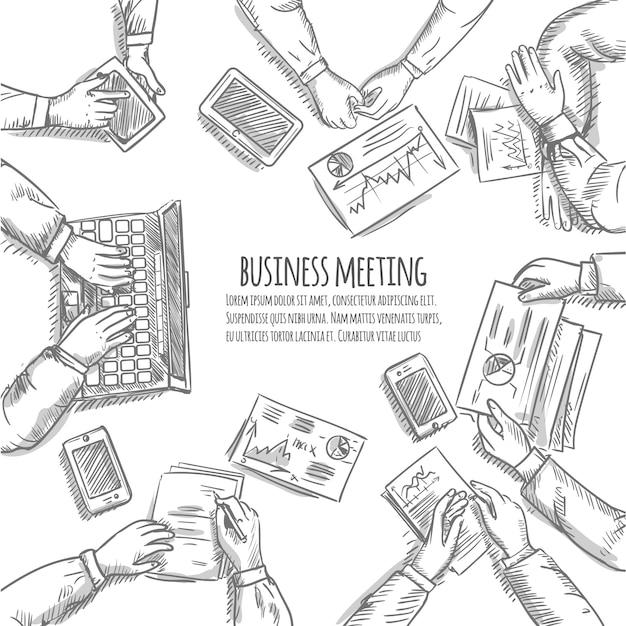 Concetto di schizzo di riunione d'affari con le mani umane di vista superiore con gli oggetti dell'ufficio Vettore gratuito