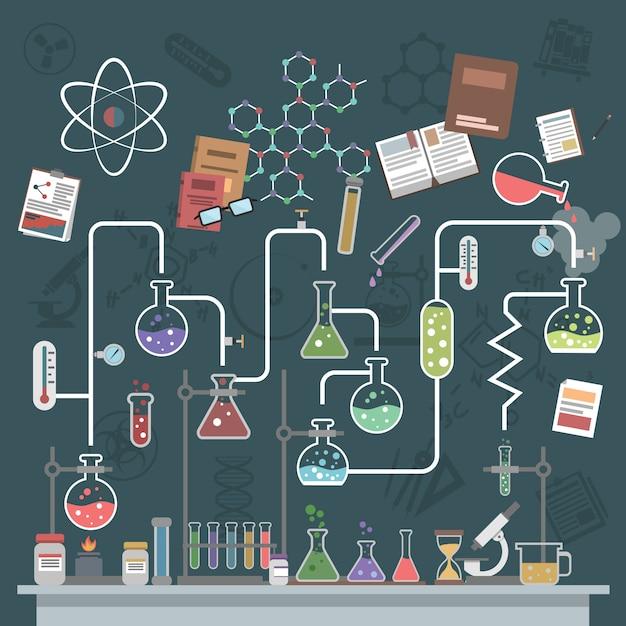 Concetto di scienza piatta Vettore gratuito