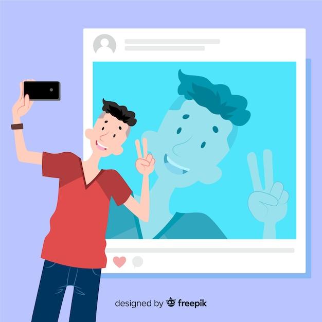 Concetto di selfie con l'illustrazione del ragazzo Vettore gratuito