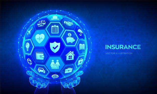 Concetto di servizi assicurativi. sfera astratta o globo nelle mani. Vettore Premium