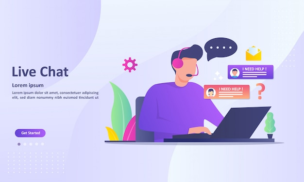 Concetto di servizio di chat live Vettore Premium