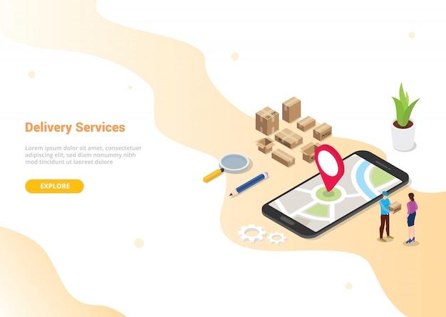 Concetto di servizio di consegna online per pagina di destinazione design modello di sito web Vettore Premium