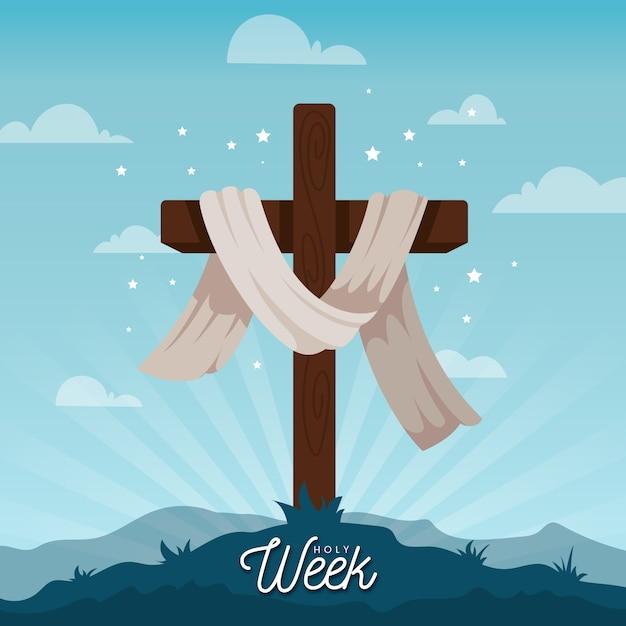 Concetto di settimana santa design piatto Vettore gratuito