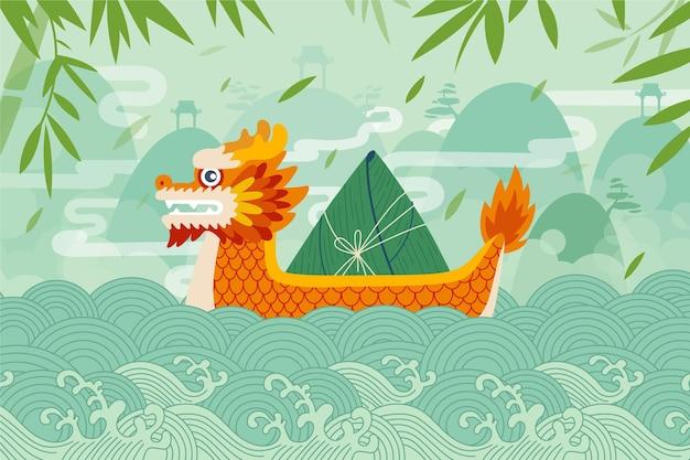 Concetto di sfondo barca drago Vettore gratuito