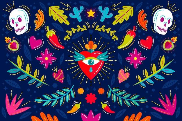 Concetto di sfondo colorato messicano Vettore gratuito
