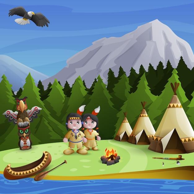 Concetto di sfondo nativo americano Vettore gratuito