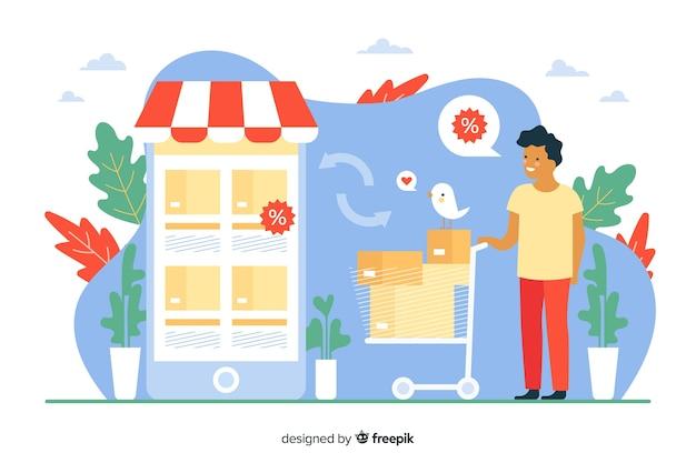 Concetto di shopping online per landing page Vettore gratuito